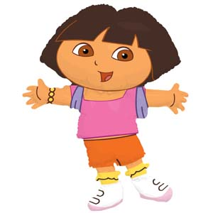 "Dora the Explorer Supershape Foil Balloon.  32"" (81cm) height * 25"" (64cm) width.  Balloon is refillable.  Balloon is sold uninflated."