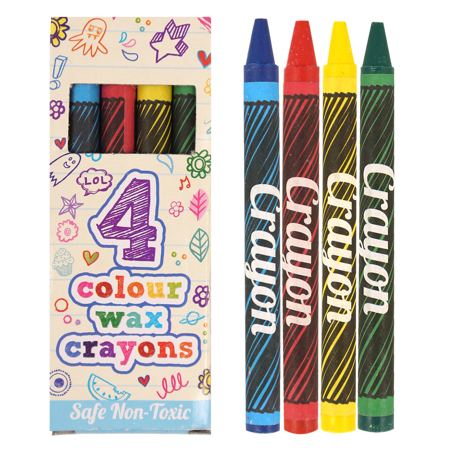 Box of 4 Wax Crayons.  Each crayon measures 9cm length.