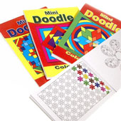Mini Doodle Pads. 10.5 x 15cm. Contains 48 pages of patterns to be coloured in.