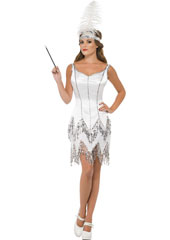 Fever Flapper Dazzle Costume, includes dress with sequins and headband with feather.