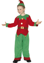 Fleece Elf Costume includes tunic, trousers and hat with bell.