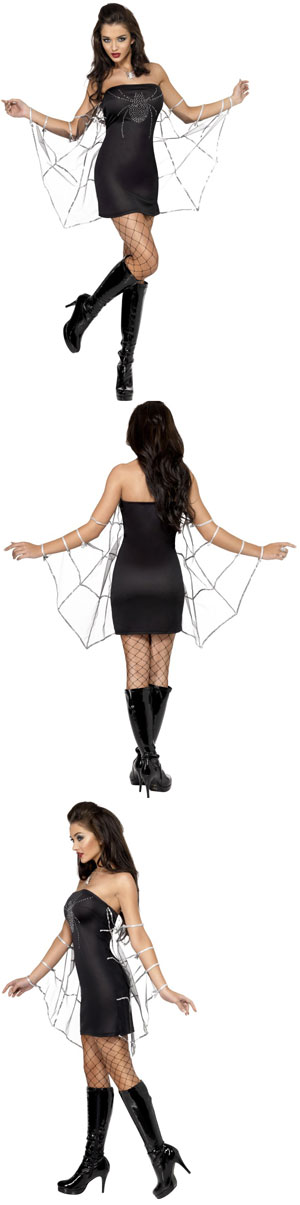 Black Dress  Size on Fever Black Widow Costume  Includes Dress With Attached Sleeves