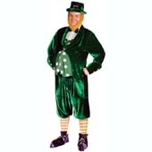 Deluxe Leprechaun Costume, includes jacket, trousers, hat, beard, shoe covers, socks and belt.
