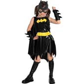 Batgirl Costume, includes dress with attached cape, belt, boot tops, gauntlets and headpiece.
