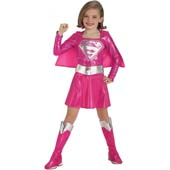 Pink Supergirl Costume, includes dress with attached cape, belt and boot tops.