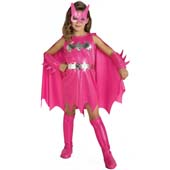 Pink Batgirl, includes dress with attached cape, belt, gauntlets and boot tops.