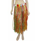 "80cm (31"") Multi Colour Grass Skirt with flowers"