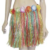 45cm Multi Clour Grass Skirt with flowers