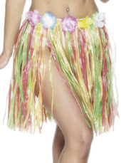 46cm Multi Colour Grass Skirt with flowers