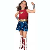 Wonder Woman Costume, includes dress with attached cape, belt, boot tops, bracelets and headpiece.