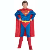Classic Muscle Chest Superman Costume, includes cape, muscle chest jumpsuit with attached boot tops and belt.