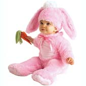 Precious Pink Wabbit Costume, includes jumpsuit, hat with ears and carrot rattle.