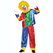 Clown Costume, includes brightly coloured top and trousers.  Wig NOT INCLUDED - available separately.