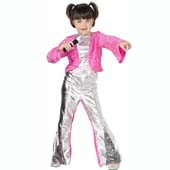 80s Popstar Costume, includes top, flares and microphone.