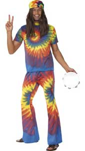 60s Groovy Tie Dye Costume, includes tie dye top and flared trousers.