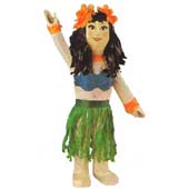 Hula Girl Pinata.  Dimensions 53cm (h) * 25cm (w) approx.   Unfilled. Remember to order your pinata buster, blindfold and fillers on our pinata page.