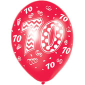 Happy 70th Birthday (assorted colours) Printed Latex Balloons - 27.5cm. Helium Quality.