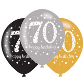 Gold Celebration 70th Birthday Latex Balloons.  Will inflate up to 27cm.  Suitable for Air fill or Helium fill.