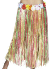 79cm Multi Colour Grass Skirt with flowers