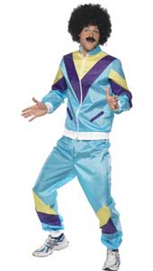 80s height of fashion shell suit costume, includes jacket and trousers.