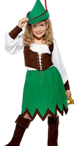 Robin Hood Girls Costume, includes hat, shirt, vest, skirt and boot tops.