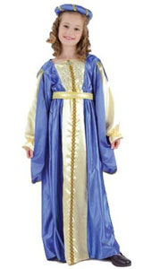Blue and Gold Historical Princess Costume, includes dress, headpiece and belt.
