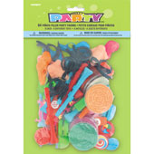 Pack of 64 pinata filler favours. Each pack includes 8 different toys. Example of the Items included are maze puzzles, plastic gun, disguise set and spinning tops.