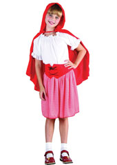 Red Riding Hood Child Costume, includes shirt, skirt, belt and cape.