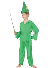 Peter Pan Child Costume, includes shirt, pants, hat with feather and belt.