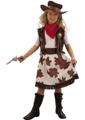 Cowgirl Child Costume, includes vest, skirt, belt, bandanna and hat.