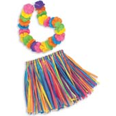 "Child Hula Skirt and Lei Set.  Stretch waist skirt size: 10"" width * 13"" length.  Lei size: 30""."
