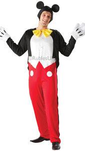 Mickey Mouse costume, includes jumpsuit with attached jacket , padded gloves and headpiece.