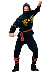 Ninja Costume, includes face scarf, hooded shirt, waist sash, trousers, arm and leg ties.