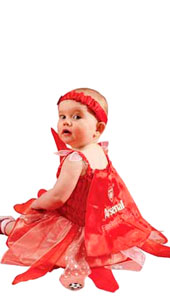 Baby Arsenal Football Fairy Costume, includes dress with crest, detachable wings, cape and headband.