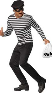 Bank Robber Costume, includes top, trousers, eyemask, cap and swag bag.