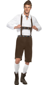 Bavarian Man Costume, includes laderhosen shorts with braces, top and hat.