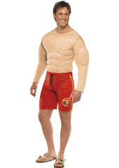 Baywatch Lifeguard Costume, includes muscle chest and swimming trunks. FLOAT SOLD SEPARATELY.