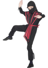 Black Ninja Child Costume, includes jumpsuit with hood, overpiece, belt and bands.