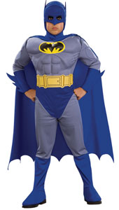 Muscle Chest Batman the Brave & the Bold Costume, includes jusmpsuit with muscle chest and attached boot tops, cape with cowl and moulded belt.