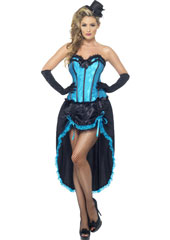Burlesque Dancer Blue Costume, includes adjustable skirt and bodice. HAT AND GLOVES SOLD SEPARATELY.