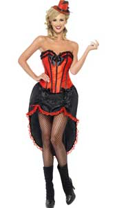 Burlesque Dancer Red Costume, includes adjustable skirt and bodice. HAT SOLD SEPARATELY.
