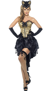 Burlesque Kitty Costume, includes corset and skirt. SKULL CAP, GLOVES AND STOCKINGS SOLD SEPARATELY.
