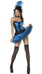 Can Can Girl Blue Costume, includes skirt, corset, headpiece, garters and choker.