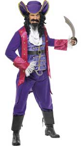 Captain Hook Costume, includes jacket, vest with attached belt, trousers, cravat and hat.