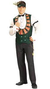 Card Dealer Costume, includes vest with attached shirt, visor with $100 bill, bow tie, armbands, watch chain with charms.