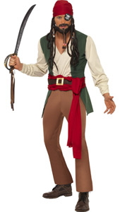 Caribbean Drunken Pirate Costume, includes top with mock waistcoat, trousers, waist sash and headscarf.