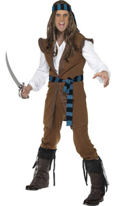 Caribbean Pirate Costume, includes top with sleeves, trousers and headpiece. BOOTCOVERS SOLD SEPARATELY.