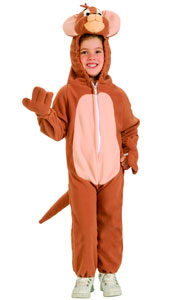 Jerry Costume, the mouse from Tom and Jerry Cartoons, includes fleece jumpsuit with attached plush headpiece.