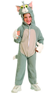 Tom Costume, the cat from Tom and Jerry Cartoons, includes fleece jumpsuit with attached plush headpiece.
