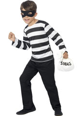 Child Dress Up Burglar Kit, includes mask, top and swag bag.